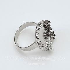 Основа для кольца с сеттингом с филигранным краем для кабошона 18 мм (цвет - платина)