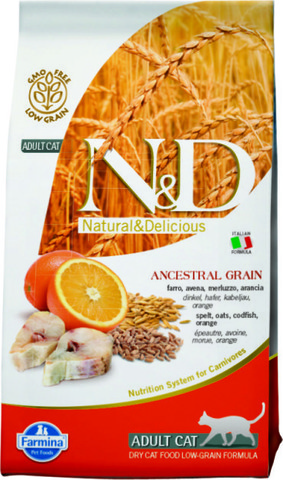Farmina N&D  низкозерновой корм для взрослых кошек. Спельта, овес, треска, апельсин.