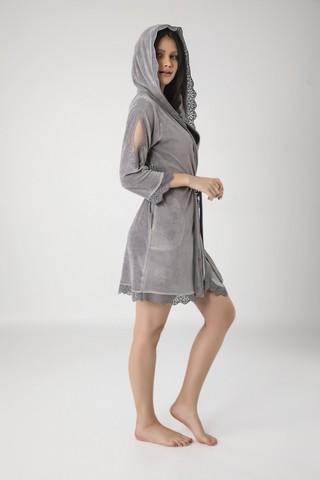 Халат женский велюровый с капюшоном 20187 серый  NUSA Турция