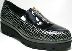 Женские туфли с узким носом. Кожаные туфли на тракторной подошве El Passo Тк