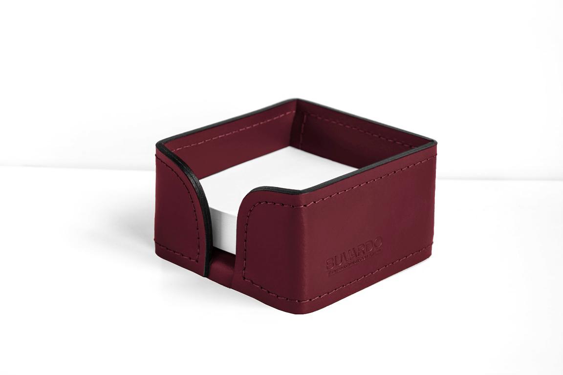 лоток для бумажных заметок из кожи цвет бордо