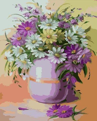 Картина раскраска по номерам 50x65 Букет в фиолетовой вазе