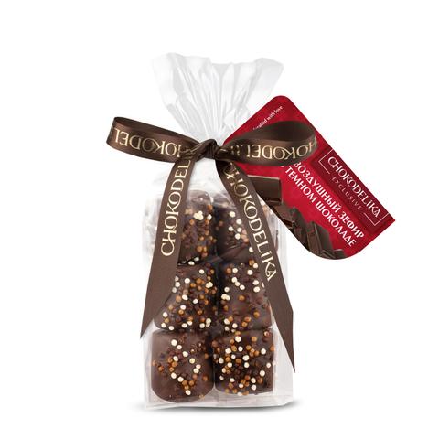 Конфеты Воздушный зефир в темном шоколаде, в пакете с ленточкой, 55гр