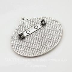 Основа для броши с сеттингом для кабошона 40х30 мм (цвет - античное серебро)