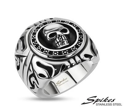 R-Q8020 Массивный мужской перстень с черепом из ювелирной стали, «Spikes»