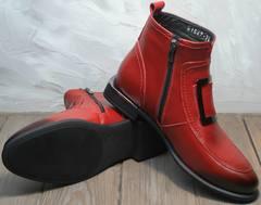 Ботинки демисезонные женские кожа Evromoda 1481547 S.A.-Red