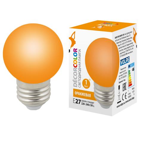 LED-G45-1W/ORANGE/E27/FR/С Лампа декоративная светодиодная. Форма