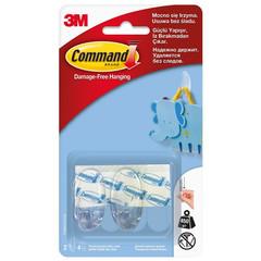 Крючки Command удаляемые прозрачные нагрузка до 450 г (2 штуки + 4 клейких полоски)