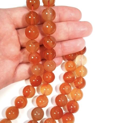 Бусины сердолик А шар гладкий 12 мм 16 бусин
