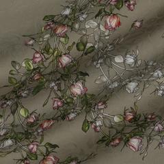 Хлопковый жаккард с ветвями роз