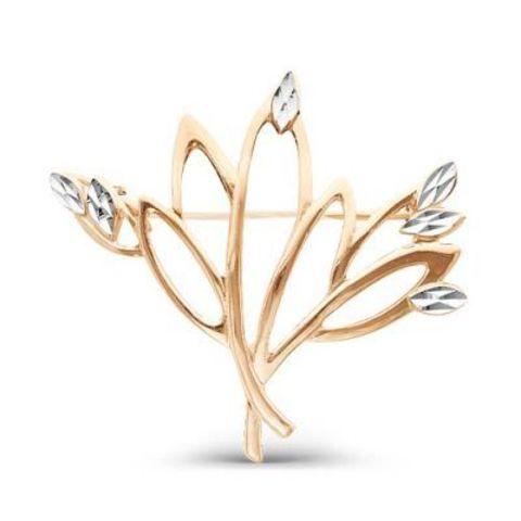 Брошь с алмазной гранью и позолотой