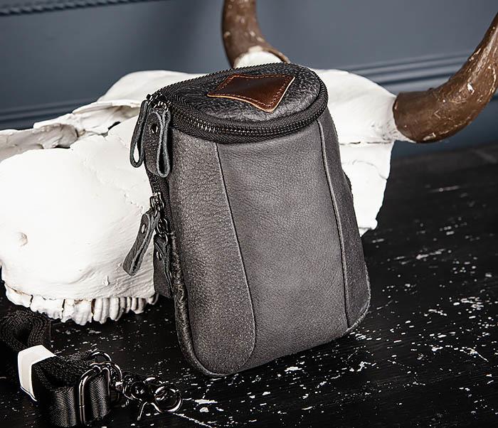 BAG517-1 Кожаная сумка на пояс с ремнем и карабином