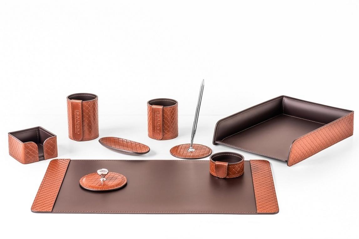 Фото настольного набора руководителя арт.2164-AK TAN/шоколад из 9 предметов.