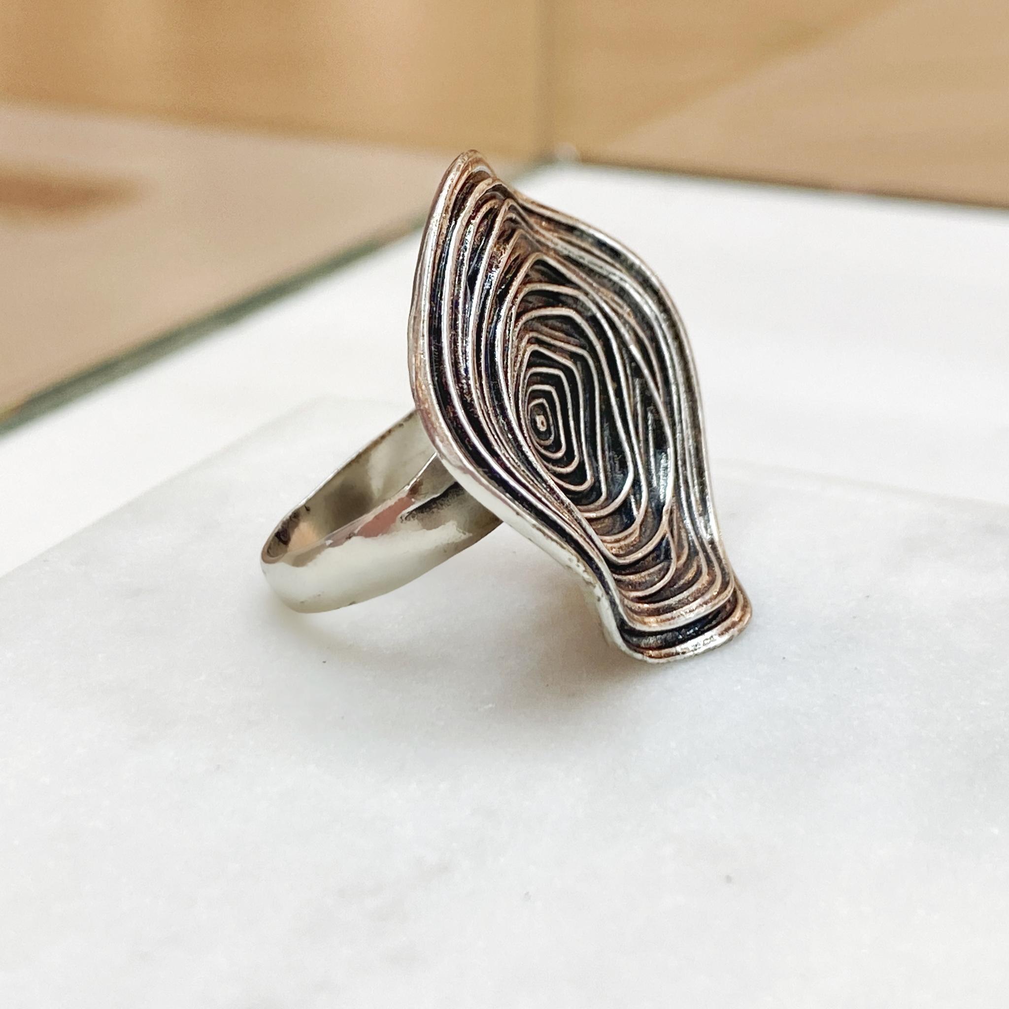 Кольцо Клубок (чернение, серебристый)