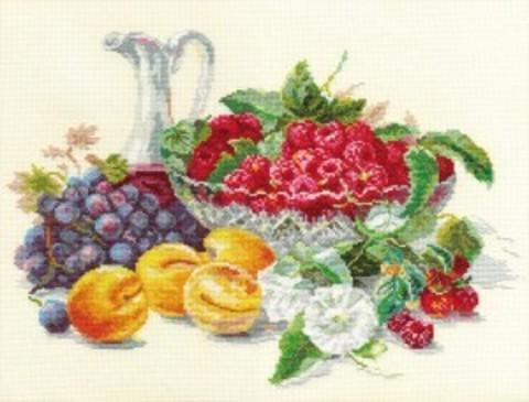 Абрикосы и малина¶Размер: 37х27 см¶Кол-во цветов: 40