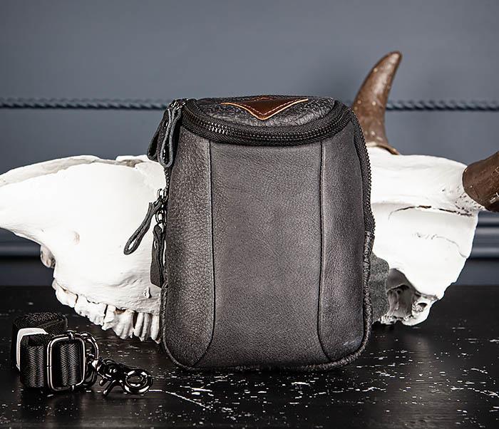 BAG517-1 Кожаная сумка на пояс с ремнем и карабином фото 02