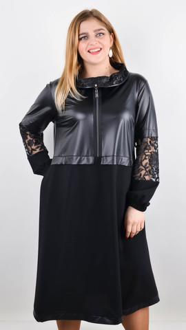 Ванесса. Стильне плаття плюс сайз. Чорний.