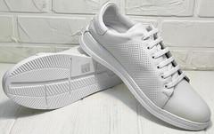 Белые кожаные кеды кроссовки на белой подошве женские Evromoda 141-1511 White Leather.