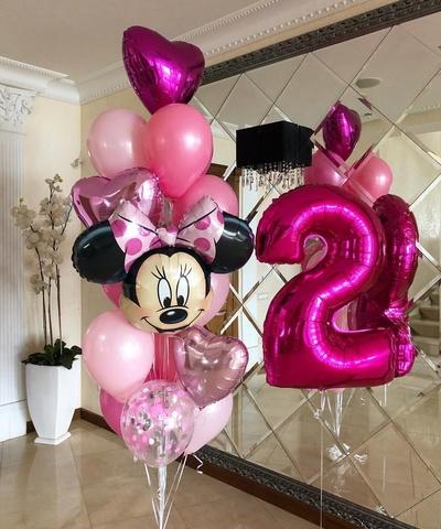 Фонтан из шаров Минни Маус с  цифрой