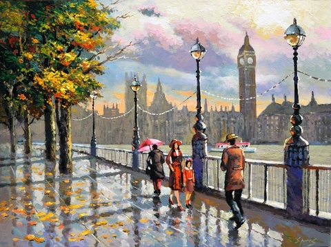 Картина раскраска по номерам 50x65 Осенняя улица Лондона