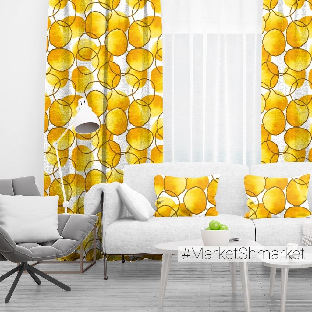 Акварельная абстракция с желто-золотыми пятнами