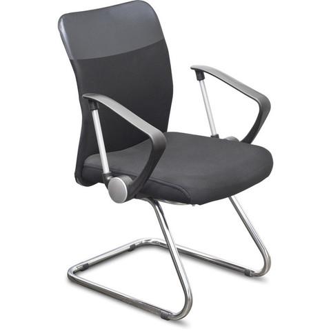 Конференц-кресло Директ Лайт на полозьях черное (ткань/металл хромированный)