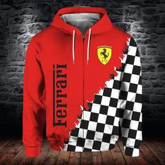 Толстовка утепленная с молнией 3D принт, Ferrari (3Д Теплые Худи с молнией Феррари) 03