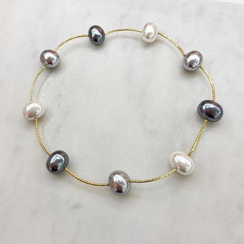 Колье-браслет с жемчугом (серый, белый, золотистый)