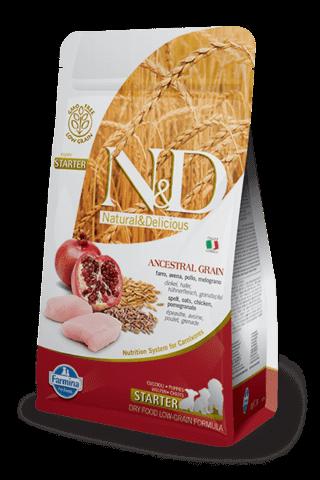 купить Farmina N&D Ancestral Grain Chicken & Pomegranate Starter Puppy сухой корм для щенков всех пород во время отлучения (до двух мес.)