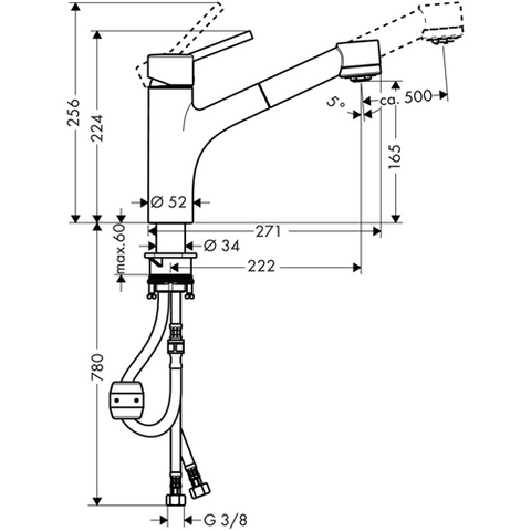Смеситель  Hansgrohe Telis S 32841000 для кухни схема