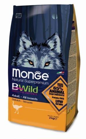 купить Monge Bwild Dog Ostrich корм для взрослых собак всех пород с мясом страуса