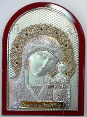 Серебряная с золочением инкрустированная гранатами икона Божией Матери Казанская 20х14,5см в подарочной коробке