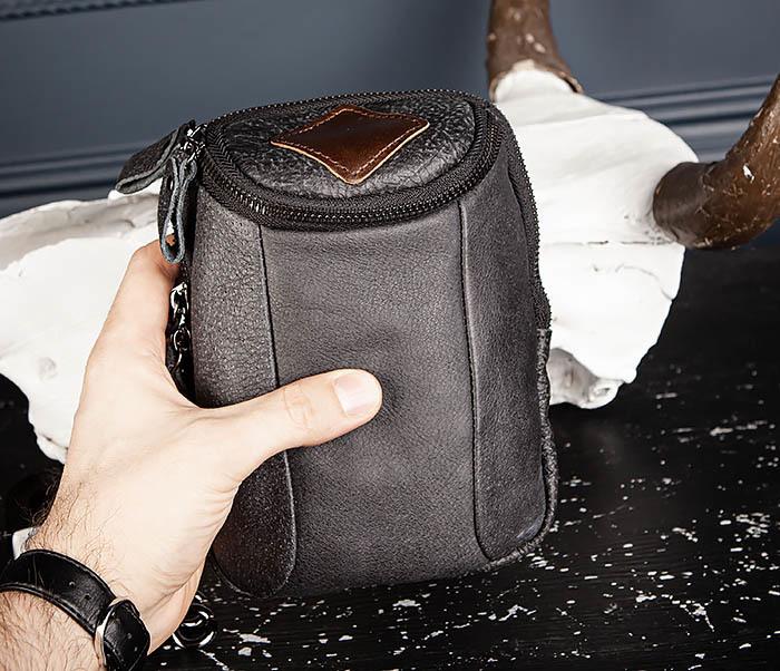 BAG517-1 Кожаная сумка на пояс с ремнем и карабином фото 05