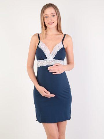 Евромама. Сорочка с кружевом для беременных и кормящих, темно-синий вид 1