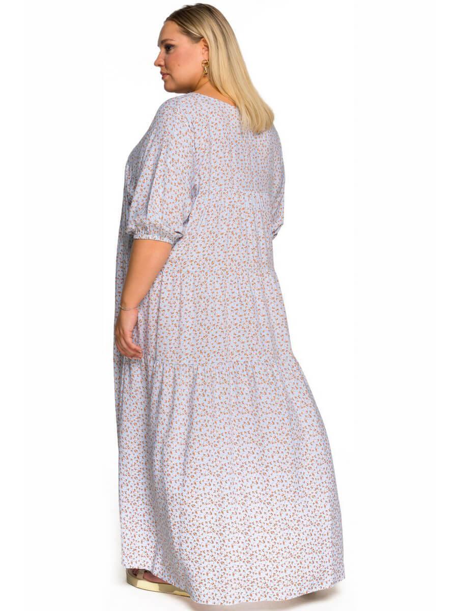 Платье с ярусами Розочка на голубом
