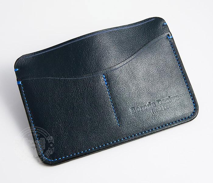 BC122-3 Кожаная обложка синего цвета для документов и карт ручной работы, «Boroda Design» фото 02