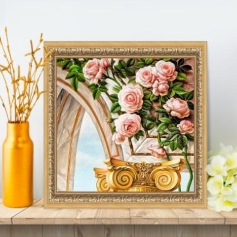 Картина стразами (набор) Арка и розы. 30х30 см.