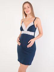 Евромама. Сорочка с кружевом для беременных и кормящих, темно-синий вид 2