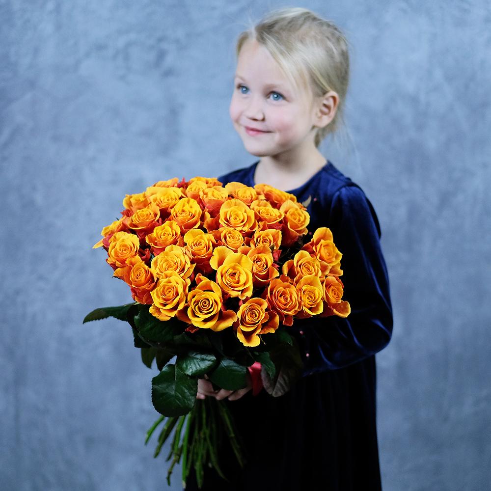 купить заказать онлайн букет цветы ярко оранжевые розы Пермь с доставкой