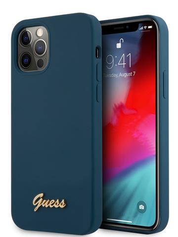 Чехол Guess для iPhone 12/12 Pro | золотой логотип силикон синий