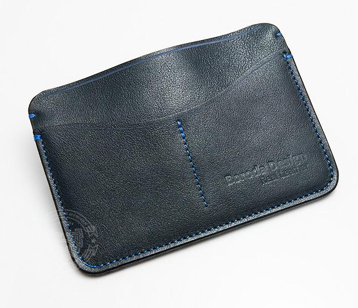 BC122-3 Кожаная обложка синего цвета для документов и карт ручной работы, «Boroda Design» фото 03