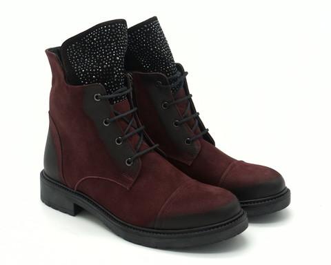 Бордовые кожаные ботинки из нубука  на шнуровке