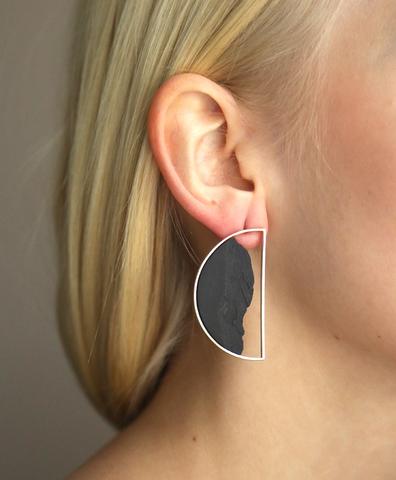 Серьги Semicircular Silver Black