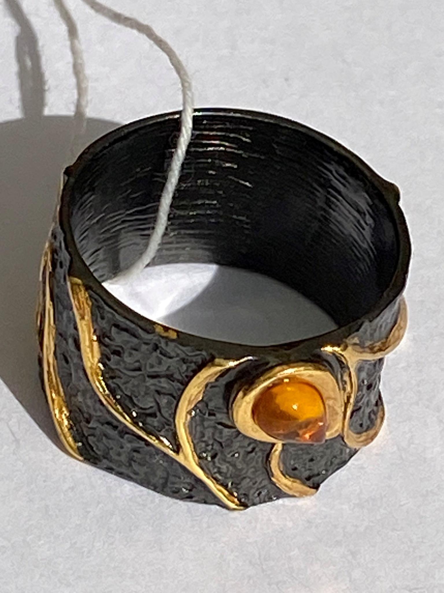 Тейма-черный (кольцо из серебра)