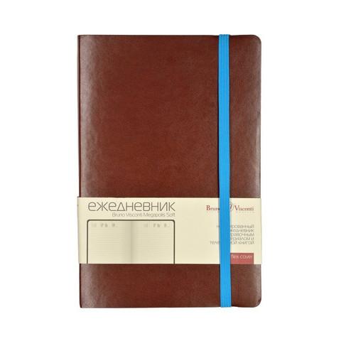 Ежедневник недатированный Bruno Visconti Megapolis Soft искусственная кожа А5 136 листов коричневый (голубой обрез, 144х212 мм)