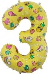 К Цифра 3 Веселые картинки, Желтый, 34