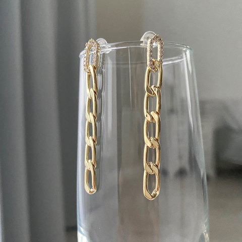 Серьги-цепи из 6 звеньев с цирконами (золотистый)