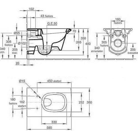 Унитаз подвесной  Jacob Delafon Stillness E1303-00 с сиденьем микролифтом схема
