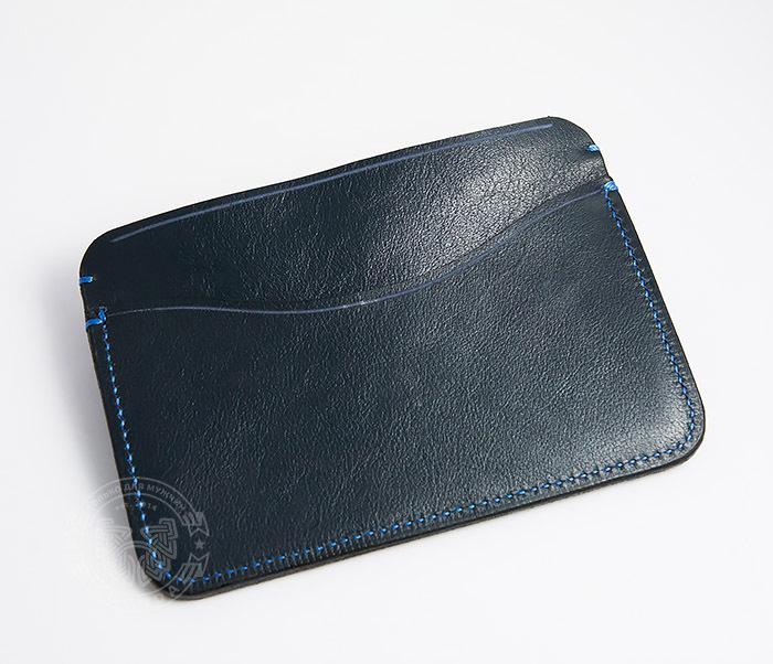 BC122-3 Кожаная обложка синего цвета для документов и карт ручной работы, «Boroda Design» фото 04