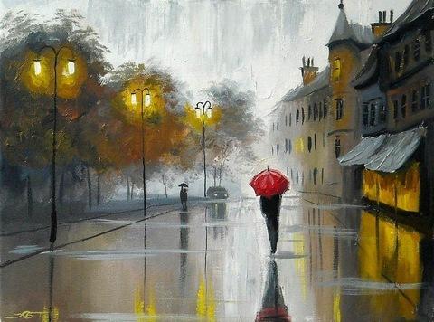 Картина раскраска по номерам 50x65 Человек с красным зонтом дождливой осенью